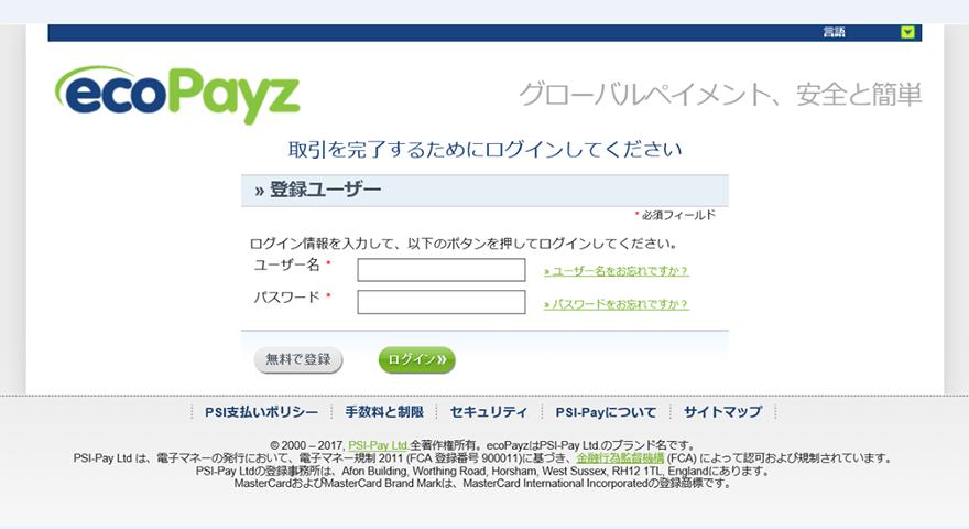 ecoPayz入金画面2